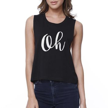Oh Womens Black Sleeveless Crop Shirt Cute Calligraphy Workout Top