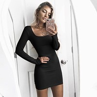 Women Simple Fashion Square Neck Long Sleeve Tight Solid Color Mini Dress