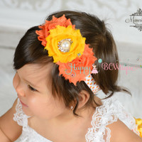 Trio Candy Corn headband, Fall Headband, Baby girls Headband,halloween headband,newborn headband, Thanksgiving headband, autumn fall