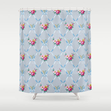 Pretty Blue Ribbons Rose Floral Vintage Wallpaper Pattern Shower Curtain by Oh So Girly