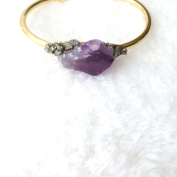 Raw Amethyst Cuff, Pyrite Bracelet, Gold, Natural Crystal Stone, Purple Gemstone, February Birthstone, Rough, Nugget, Minimalist, Edgy, Boho