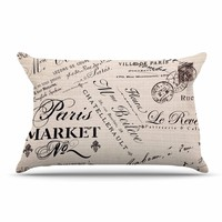 "Sylvia Cook ""French Script"" Handwriting Pillow Case - Outlet Item"