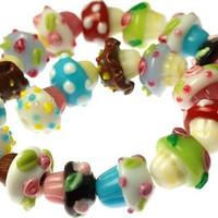 Handmade Lampwork Glass Beads -- Various Cupcake