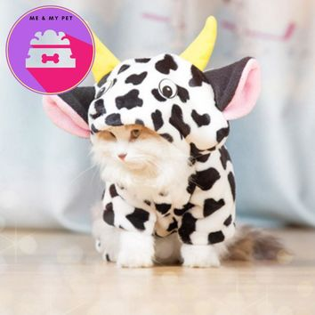 New 2017 Pet Dog Cat Warm Coat Cow Costume Hoody Apparel Pullover Winter Clothes Cat Clothes Jumpsuits Cow shipping pet clothes