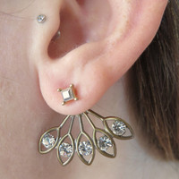 Bronze clear Gem Brass Sunburst Ear Jackets Earring Stud Sun Burst Post 2-Piece Drop Split Front Back In Out Jewelry