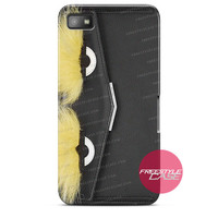 Leather Clutch with Fox Fur Black Fendi  Blackberry Case Z10, Q10, Dakota Cover