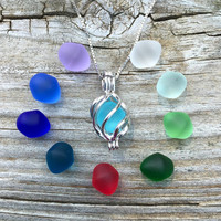 Colorful Sea Glass Set Sterling Silver Swirl Cage  Locket by Wave of LIfe