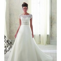 Mori Lee Blu Style A-line with Bateau Neckline Wedding Dress in Ivory/Silver and White/Silver