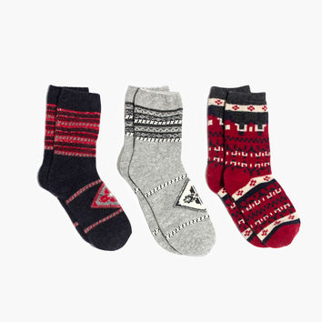 Three-Pack Red Print-Mix Trouser Socks
