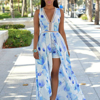 White and Blue Printting Chiffon Maxi Dress with Linen Shorts