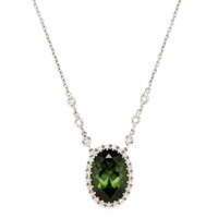 Diamond & Green Tourmaline Oval Pendant Necklace