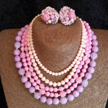 Vintage Pink 5 Strand Beaded Necklace Earring Set - Demi Parure Signed Japan Collectible - Retro Rockabilly Accessories