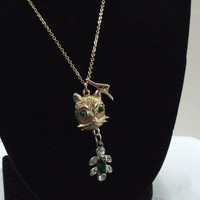 Cat charm necklace vintage green and clear by HopscotchCouture