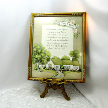 Guest Room Framed Art With Poem For A Visiting Guest Message Art Cottage Chic Wall Decor Vintage Collectible Gift Item 2351