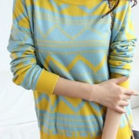 Blue Yellow Long Sleeve Geometric Print Pullovers Sweater - Sheinside.com