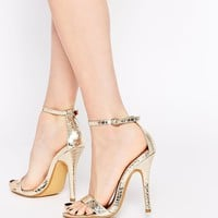 London Rebel Barely There Gold Heeled Sandals