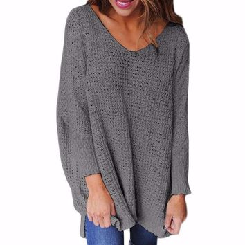 Women's Gray Waffle Texture Sweater Long Sleeve Tunic Length Sweater Pullover Top