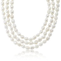 Freshwater Cultured Baroque White Endless Pearl Necklace (9-10mm) 64""