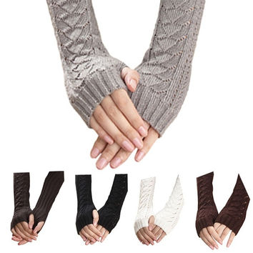 Warmer Winter Hollow Out Gloves Keyboard Leak Finger Knit Gloves = 1714243780