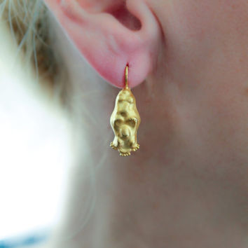 Ancient Greek jewelry, Gold drop earrings, ancient greece, 24k gold earrings, jewelry from Israel, Primitive Gold Earrings, ChenFuchsJewelry
