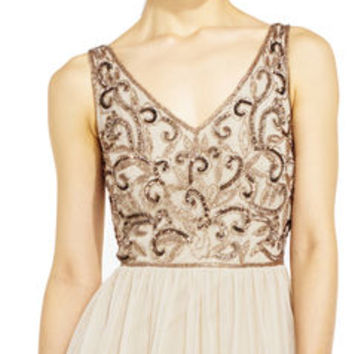 Sleeveless Filigree Beaded Chiffon Dress