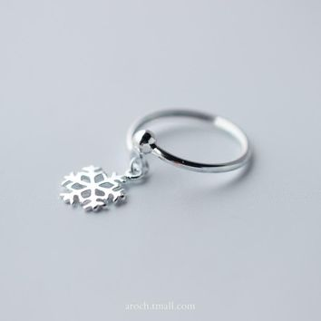 925 Silver Face Pendant Snowflake Ring, Sweet Open Index Finger Ring J077  171204