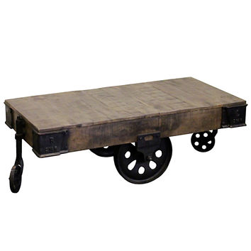 Gondorian Iron and Wood Coffee Table on Wheels