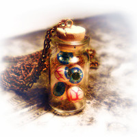 Eyeballs in a bottle necklace, creepy, weird, horror, psychobilly