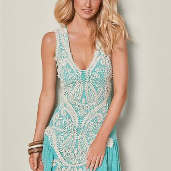 Ribbed Lace Detail Dress in Green Multi | VENUS