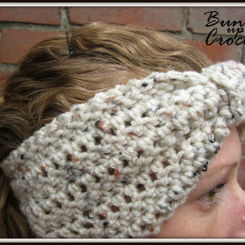 Knotted Crochet Headband Warm Turban Knot Ear warmer Accessory Fall Winter Tan Speckles Cinch Knot Wide Simple Sleek Christmas Gift Present