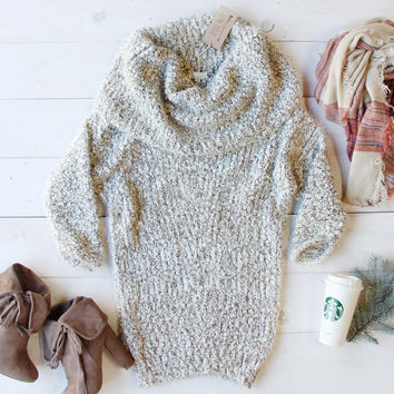 The Nubby Knit Sweater Dress in Taupe
