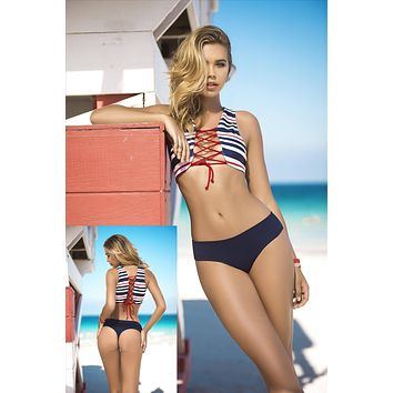 Nautical Stripe Red, White, & Navy Blue Striped Lace-Up Front & Back Top & Navy Blue Cheeky Thong Bottom Bikini Swimsuit