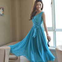 9201 summer bohemia V-neck lacing chiffon one-piece dress slim waist full dress high waist expansion tank bottom dress = 1958516420