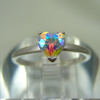 Unique Engagement Ring | Unique Wedding Ring | Moonglow Orange Mystic Fire Ice 1ct  Sterling Silver Heart Ring | Custom Sized 3-16 MTO
