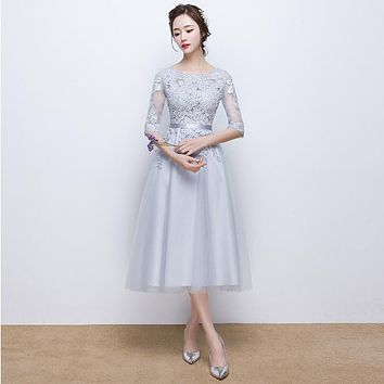 PotN'Patio Elegant O-neck Half Sleeves Tea Length Medium Long Evening Dresses Gray Lace Formal Evening Gown Dresses