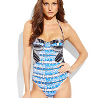 BCBGMAXAZRIA Striped Snake Underwire One-Piece Swimsuit