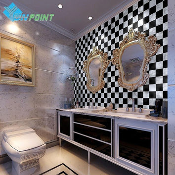 5M BATHROOM WALL ART DECALS KITCHEN PVC SELF ADHESIVE WALLPAPER DIY HOME DECOR BLACK/WHITE MOSAIC TILE VINYL STICKERS WATERPROOF