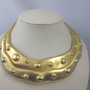 Valentino Eqyptian Revival Collar Necklace, Gold Sculptural Couture Statement Runway Hammered Collar, 1980's Wide Designer Valentino Jewelry