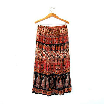 Vintage Boho Skirt. Floral Drawstring Skirt. Ethnic Midi Hippie Skirt. Made in India