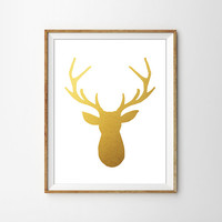 Gold Foil Deer Print. Shabby Chic Wall Decor. Modern Home Decor. Rustic Art. Bedroom Decor. Faux Gold Foil. Chic Wall Art.