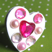 Pink Jeweled Heart ring