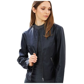 Cruelty-free Vegan Leather Collarless Moto Jacket