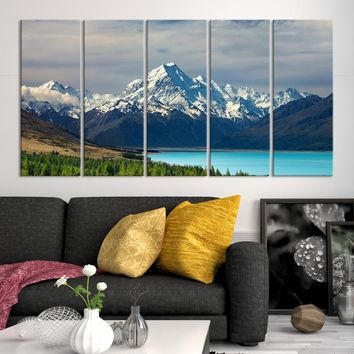 21118 - Extra Large Wall Art Landscape Canvas Print - Lake Between Green Forest and Snowy Mountain