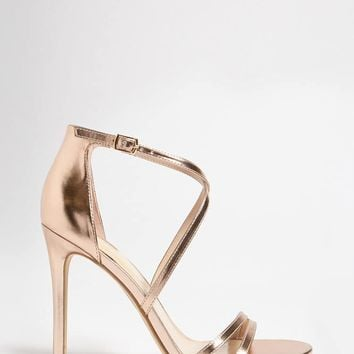 Faux Leather Crisscross Heels