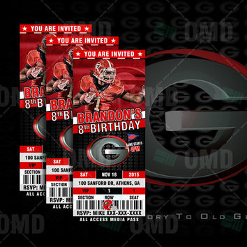 Georgia Bulldogs Sports Party Invitation, Sports Tickets Invites, UGA Football Birthday Theme Party Template