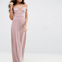 ASOS WEDDING Ruched Mesh Bardot Maxi Dress at asos.com