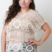 Women's Beige Crochet Lace Top In Plus Sizes