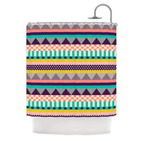 "Louise Machado ""Decorative Stripes"" Teal Pink Shower Curtain"