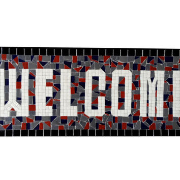 Welcome Sign / Outdoor Mosaic Plaque / Customizable