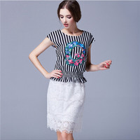 Floral Q Tee Stripe Flounced Hem Blouse with white Mesh and Lace Skirt